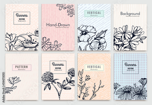 Set of isolated creative background cards hand drawn vintage set of isolated creative background cards hand drawn vintage elements vector template banners for stopboris Gallery