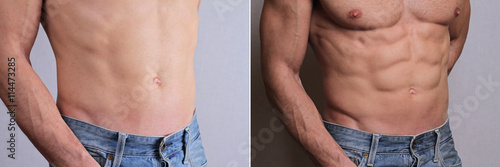 Man abs challenge exercise results before and after. Male fitness motivation. Strong Athletic Man muscular body and sixpack.