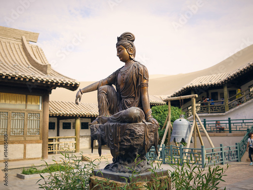 Buddha Statue at the Crescent Moon Pagoda in Dunhuang on the Silk Road (Gansu Pr Canvas Print