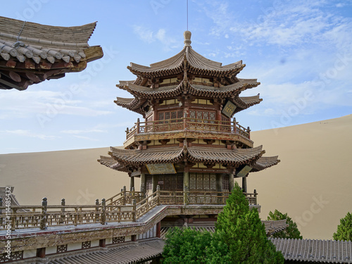 Fotografie, Tablou  The Crescent Moon Pagoda in Dunhuang on the Silk Road (Gansu Province, China)