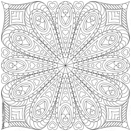 Leinwand Poster Adult coloring book page template.