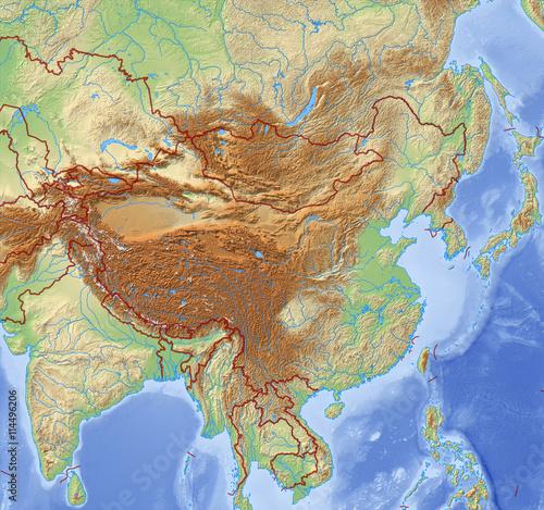 Relief Map of China - 3D-Illustration – kaufen Sie diese ...
