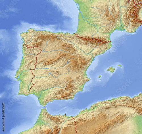 Photo Relief Map of Spain - 3D-Illustration