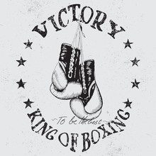 Vintage Sports Label With Boxing Gloves