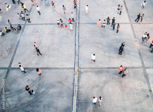 Canvas Print People blurred from top view,crowd of people bird eye view