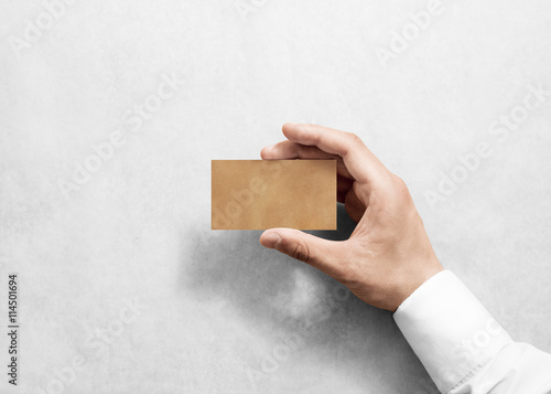Hand Hold Blank Plain Craft Business Card Design Mockup Brown
