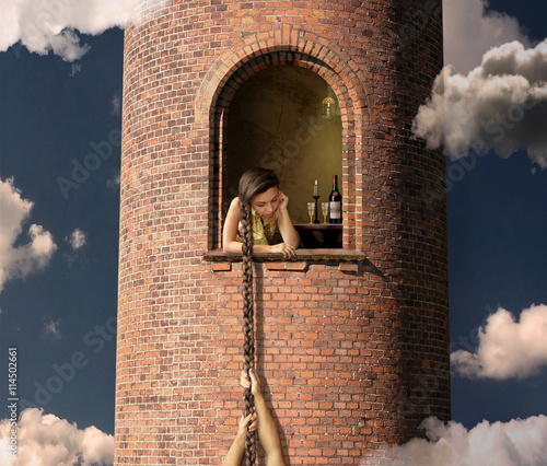 Rapunzel is waiting for her lover in a high tower. Wallpaper Mural