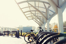 Close Up Of Bicycle Street Parking Outdoors