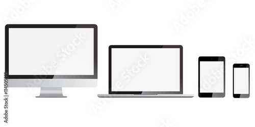 Set of monitor, computer, laptop, phone, tablet isolated on a solid