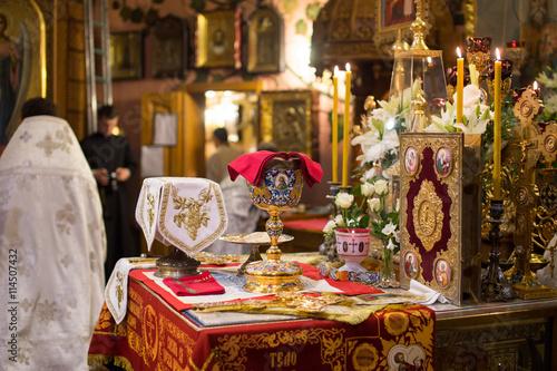 Chalice for communion in the Orthodox monastery. Kiev. Fototapeta