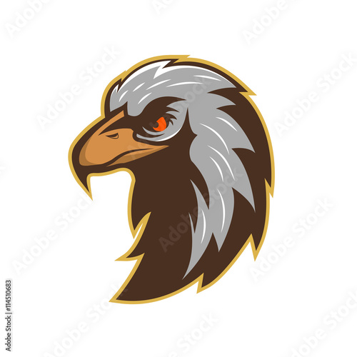 Logo template with eagle head isolated on white background