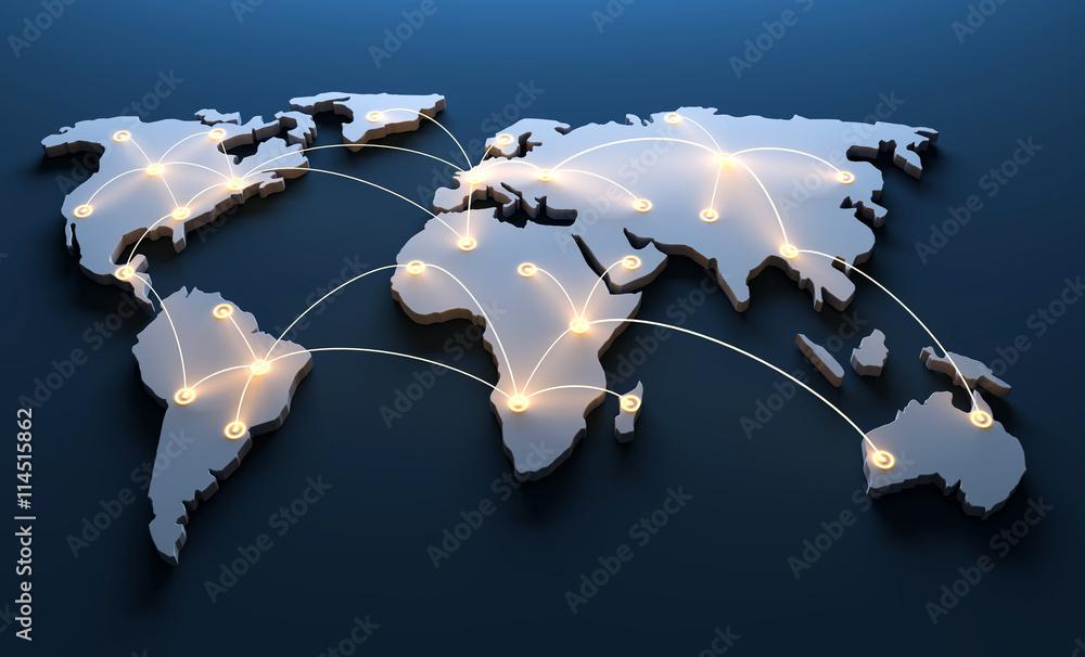 Fototapeta Weltkarte mit vernetzten Länder