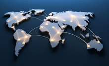 Weltkarte Mit Vernetzten Länder