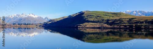 Photo  A panorama photo of Lake Hayes, New Zealand