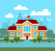 Vector flat illustration of school building, for poster, banner, etc