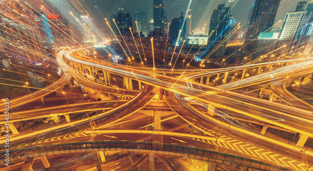 Fototapety, obrazy: View over the famous Dragon highway intersection in Shanghai, China, with traffic. Abstract nighttime skyline.