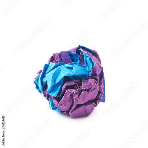 Fototapeta Colorful crumbled paper ball isolated obraz na płótnie