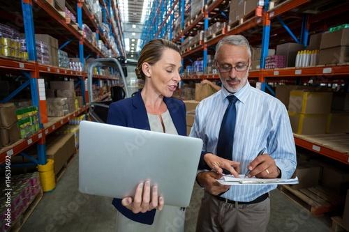 Businessmen using laptop Canvas Print