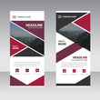 Red abstract triangle Business Roll Up Banner flat design temp