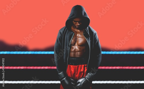 Poster Corail Composite image of boxer posing after failure