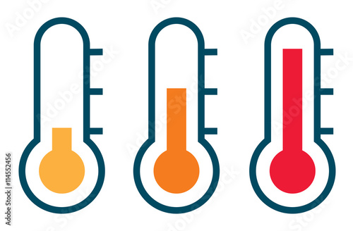 Fototapeta Three vector thermometer showing the temperature from warm to ve
