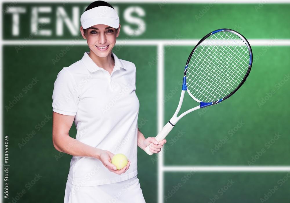 Plakát  Kompozitní obraz z atletka hrát tenis