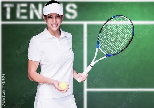 Composite image of female athlete playing tennis Canvas Print