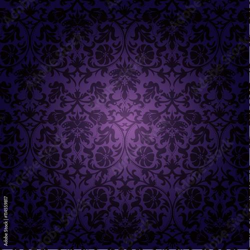 Винтажная текстура паттерн, черное кружево на фиолетовом фоне
