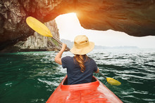 Woman Explore Ha Long Bay On Kayak