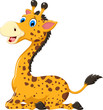 cute giraffe cartoon sitting