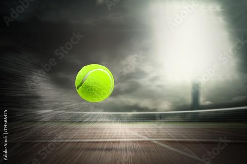 Obraz na plátně  Composite image of tennis ball with a syringe