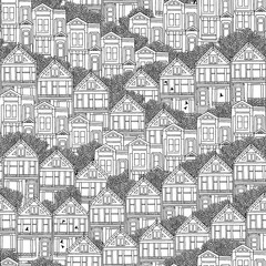 Panel Szklany Kolorowe domki Hand drawn seamless pattern of Victorian style houses in San Francisco