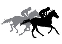 Two Jockeys Riding Horses.