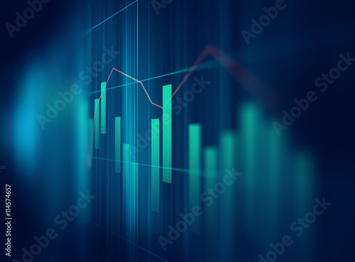 Photo  technical financial graph on technology abstract background