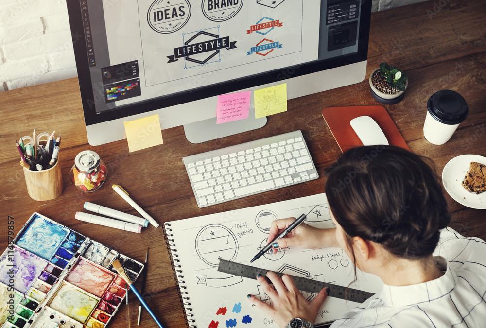 Fototapeta Ideas Creative Occupation Design Studio Drawing Startup Concept
