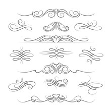 Vintage Calligraphic Ornate Page Decoration Elements And Dividers For Invitations, Greeting Cards And Banners. Vector Illustration