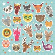 Sticker Set Of Funny Animals M...