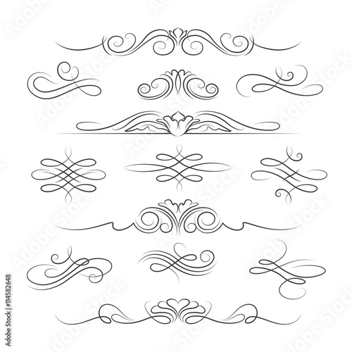 Obraz Vintage calligraphic ornate page decoration elements and dividers for invitations, greeting cards and banners. Vector illustration - fototapety do salonu