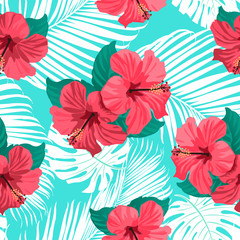 Fototapeta Inspiracje na lato Tropical flowers and palm leaves on background. Seamless. Vector pattern.