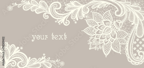 Card with a white lace. Tablou Canvas