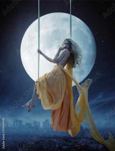 Printed kitchen splashbacks Artist KB Elegant woman over big moon background