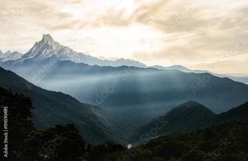 Foto auf Leinwand Nepal Machhapuchhare, Nepal.