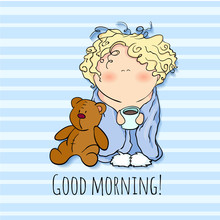 The Bobblehead With Curled Hair. Wish Card. Vector Character. Doodle. Cartoon Style