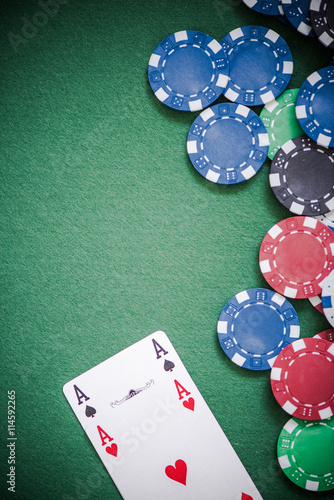 Aces cards and casino chips Poster