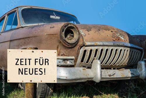Papiers peints Vintage voitures Oldtimer Zeit für Neues Schild