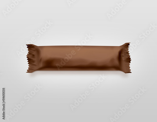 Blank brown candy bar plastic wrap mockup isolated. Empty chocolate ...