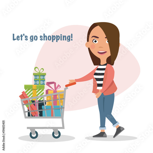 a20b0d493 Happy Girl pushing shopping cart full of gifts, goods, lifestyle.Buyer.  Sale. Vector illustration of a flat design