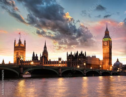 Obraz na płótnie Big Ben against colorful sunset in London, England, UK