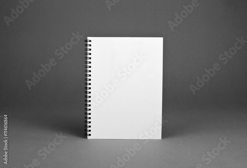 Papiers peints Spirale Blank spiral notebook on gray background