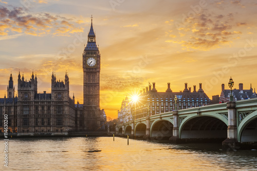Fotografie, Obraz  Big Ben and Westminster Bridge at sunset
